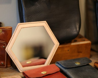 Handmade Hexagon mini mirror Small mirror Leather mirror