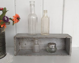 """Shaker Style Dovetailed Box Painted Silver 12"""" x 4"""" x 3 1/2"""" Breakstones Cheese Box"""