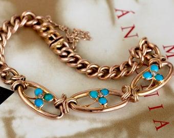 Antique 1910s Turquoise Pearl Rose Gold Bracelet, Edwardian Turquoise Curb Chain Bracelet, Shamrock Chain Bracelet, Victorian Bracelet