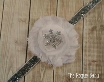 Silver & White Snowflake Glitter Winter Baby Headband - Chiffon Flower- Newborn Baby Infant- snow glitter bling