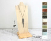 Wood Jewelry Display 14-inch, Wood Necklace Display, Necklace Bust, Necklace Stand, Necklace Holder, Choose the Color