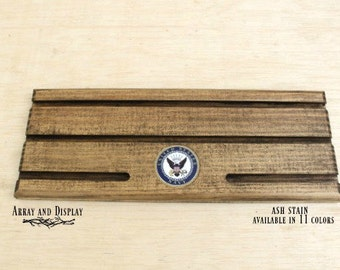Wood Military US Navy Medal Coin Award Displays, Wooden Coin Holder Displays, Coin Challenge Display, First Responders Award Displays