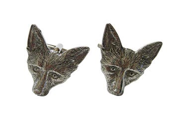 Silver Toned Textured Fox Head Cufflinks