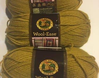 3 Skeins Wool-Ease Yarn (Mustard) Destash