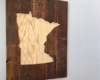 Minnesota Reclaimed pallet wood wall art, wooden sign, wooden wall art, wall hanging art, reclaimed wood sign