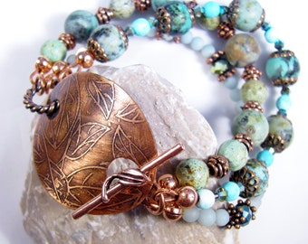 Bracelet Artisan etched toggle turquise beads copper