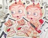 Hunting Boy Valentine Gift Tags (6) Retro Valentine Card-Favor Tags-Treat Bag Tags-Classroom Valentine-Valentine Die Cut-February 14th