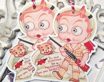 Hunting Boy Valentine Gift Tags (6) Retro Valentine Card-Favor Tags-Treat Bag Tags-Classroom Valentine-Valentine Die Cut-February 14th