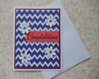 Congratulations - chevrons and flowers