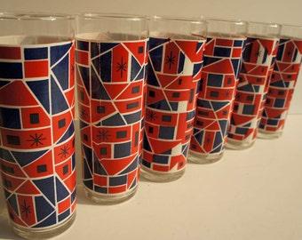 Set 6 Mod Drinking Glasses Mid Century Modern 1960s Mod