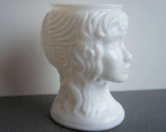 Vintage Woman Milk Glass Head Vase Classical Head Vase