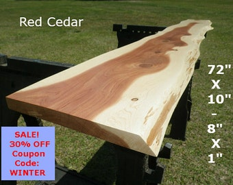 Live Edge Red Cedar Wood Slab Finished Work Station, Natural Edge Desk Top, Counter Top, Foyer Table, Console Table, Bar Top, Shelf 7019