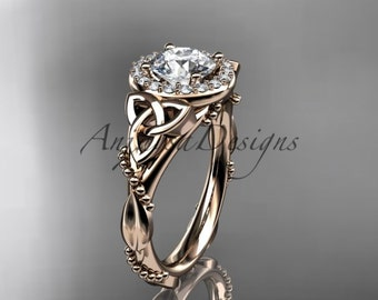 """14kt rose gold diamond celtic trinity knot wedding ring, engagement ring with a """"Forever One"""" Moissanite center stone CT7328"""