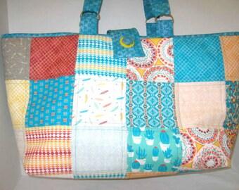 Southwest Colors Knitting Crochet Tote Bag, Craft Project Tote , Knitting Crochet Bag,  Library Market Book Bag