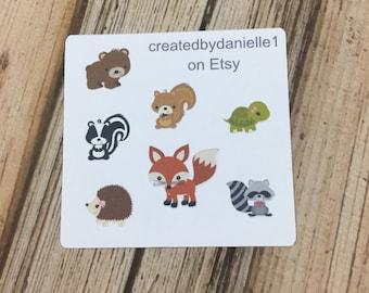 Forest Friends Planner Stickers Sampler, Forest Planner Stickers, Forest Animals Stickers, set of 7