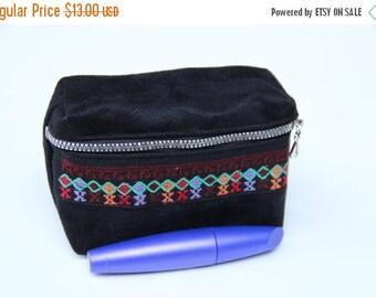 ON SALE Make Up Bag - Black Suede - Clutch Wallet Under 25 Handmade