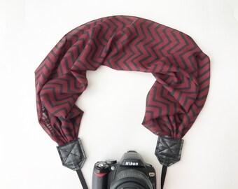 Scarf Camera Strap - dslr Camera Strap - Chevron Camera Strap Scarf - camera neck strap - black and red chevron camera strap