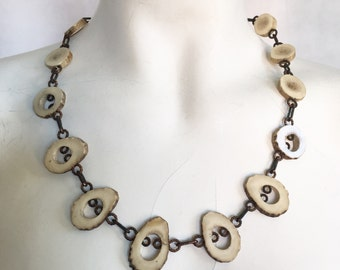 Arts & Crafts Movement Copper and Antler necklace
