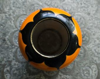Vintage Japanese Mitsu-Boshi China-Ware Orange Porcelain Vase - Made in Japan