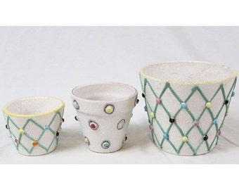 Italian Pottery Small Planter Pot Set Vintage Lot Mid Century Applied Dots Italy