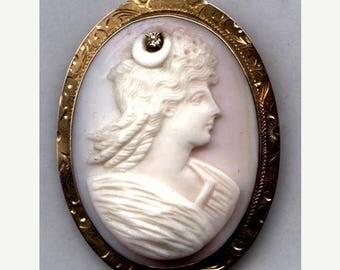 15% DISCOUNT CAMEO  Brooch Goddess Diana 10K with Diamond   Item No: 10212