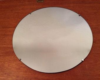 "24"" Vintage Round WALL MIRROR Art Deco/mcm Plain Flat w Clip mount"