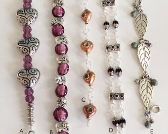 Beaded Bracelets, Silver and Black Bracelet, Copper Bracelet, Leaf Bracelet, Silver Bracelet