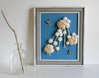 Home decor 3d framed decoration with fabric flowers and twigs