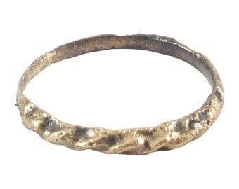 Authentic Ancient Viking Wedding Ring Gold over bronze  C.900A.D. Size 8 1/2  (18.5mm) [PWR1180]
