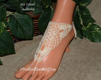 Bridal Barefoot Sandal Bridal Shoes FLATS Ivory Ankle Shoes SIZED Toe Anklet Bracelet Crochet Barefoot Sandal Foot Jewelry Shop
