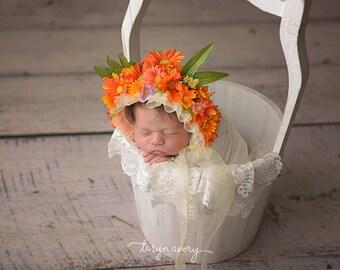 SALE Dorothy Bonnet, newborn bonnet, flower bonnet, floral bonnet, orange, daisy, summer prop, photo prop, newborn prop, ready to ship