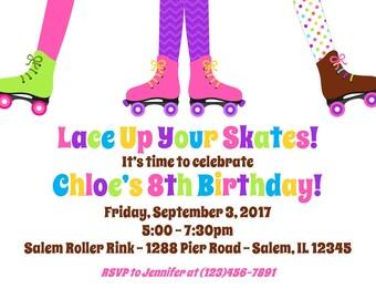 Roller Skating Invitation  (Digital File) / Rollerskating Birthday Invitation / Skating Party Invitation / Roller Skate Birthday Invitation