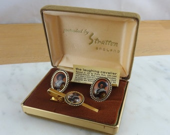 The Laughing Cavalier, Vintage Gold Tone Cufflinks & Tie Clip by Stratton | Miniature Painting Boxed Cufflinks, Made in England