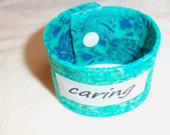 Words of Inspiration Cuff Bracelet Caring in Shades of Blue