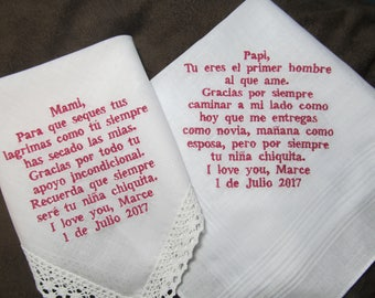 Mother & Father of the Bride - Spanish Version - Personalized Wedding Handkerchiefs - Free Gift Envelopes - With Dark Pink Non Script Font