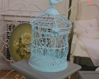Chippy Vintage Birdcage Turquoise Metal Decorative Shabby Chic