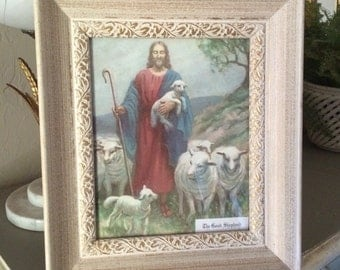 Vintage Framed Shhep Shepard The Good Shepard Lithograph Print Jesus and His Flock