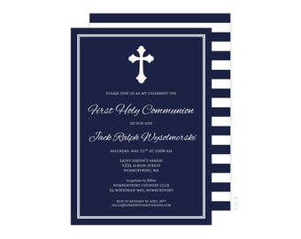 Religious Invitation (First Communion Invitation, Baptism Invitation, Christening Invitation, Religious Boys)