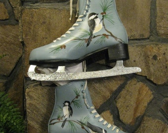 Ice Skates...up-cycled and hand-painted in acrylics. ON SALE NOW!