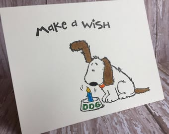 dog birthday card, make a wish card, dog greeting card, dog happy birthday card, fun birthday card, dog card, happy birthday card