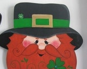 Leprechaun, St. Patrick's Day, St. Paddy's Day, St. Pat's Day, handpainted, wood, wall hanging, wall decor, elf, gnome