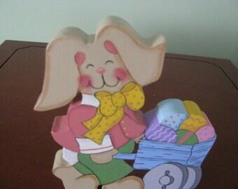 Bunny, Easter, Eggs, shelf sitter, holiday decor, spring decor, hostess gift, gift for her