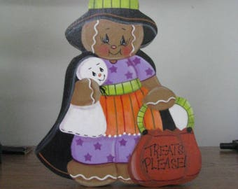 Witch, gingerbread, ghost, pumpkin, basket, halloween, shelf sitter, home decor, gift for her