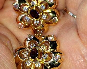 Rare Vintage Fiery Pierced Amethyst  Rhinestone Crystal Rosette Gold Plated Earrings