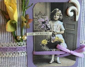 Count Your Blessings~~ Springtime Card ~~~~  Handcrafted with a Vintage Flair