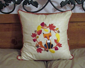 "16"" X 16"" Fall Fox Embroidered Pillow with Piping and zipper closure"