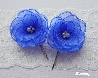 Cornflower blue hair flowers, small organza flower, bridal hair clip, bridesmaids shoe clips, something blue shoe clips, sew on ornaments