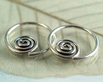 Celtic Spiral Sleeper Hoops - Sideways - Sterling Silver 14 mm