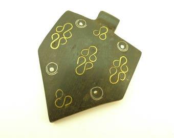 handmade inlaid ebony wood metal pendant trade bead Africa tribal unique AB-0137