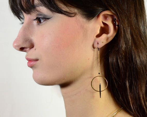 Circle and Spike Earrings. Long Hoop Earrings. Geometric Post Earrings. Mixed Metal Earrings. EH2343